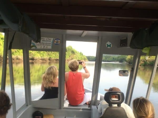 couple at a boat river tour in Cost Rica